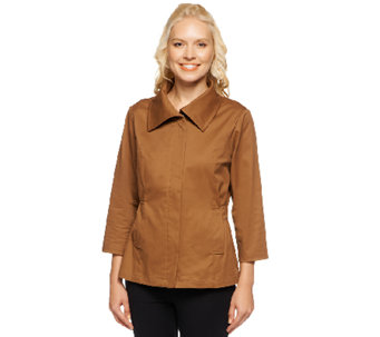 Liz Claiborne New York Stretch Twill Jacket with Smocked Waist - A234741