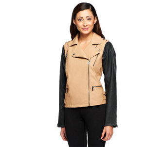 Nicole Richie Collection Asymmetric Zip Faux Leather Moto Jacket - A236741