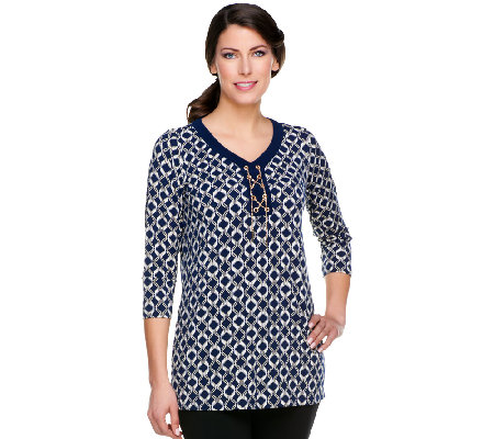 Susan Graver Liquid Knit Printed Tunic with Goldtone Chain Detail