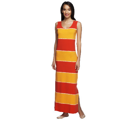 Liz Claiborne New York Sleeveless Tie Dye Striped Knit Maxi Dress