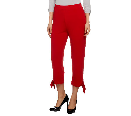Susan Graver Heavy Liquid Knit Pull-on Crop Pants with Tie Bottom