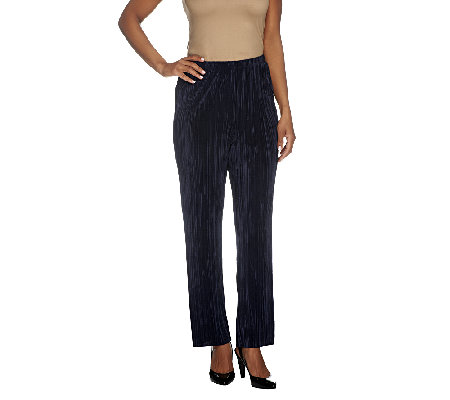 Susan Graver Pleated Knit Pull-on Slim Leg Pants