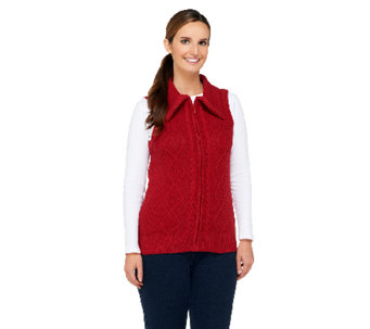 Denim & Co. Zip Front Sweater Vest with Cable Detail - A257341