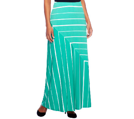 """As Is"" Susan Graver Liquid Knit Pull-On Striped Maxi Skirt"