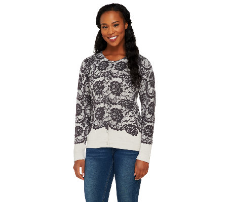 Isaac Mizrahi Live! Engineered Lace Printed Cardigan
