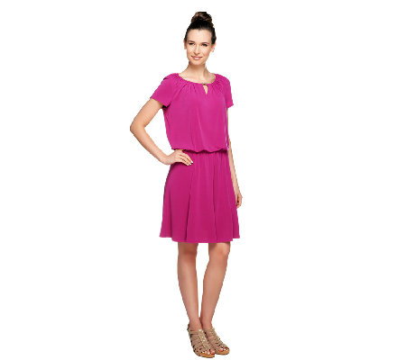 """As Is"" Susan Graver Petite Liquid Knit Romper Dress"