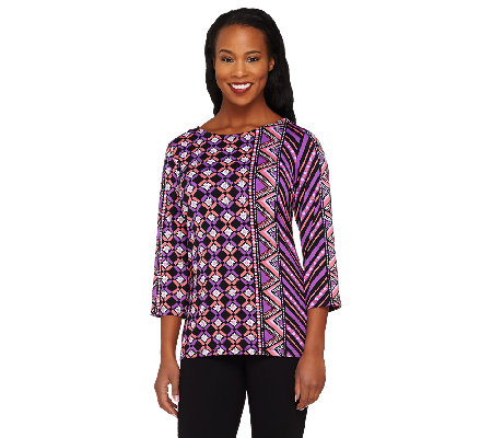 Bob Mackie's Indonesia Print 3/4 Sleeve Knit Tunic