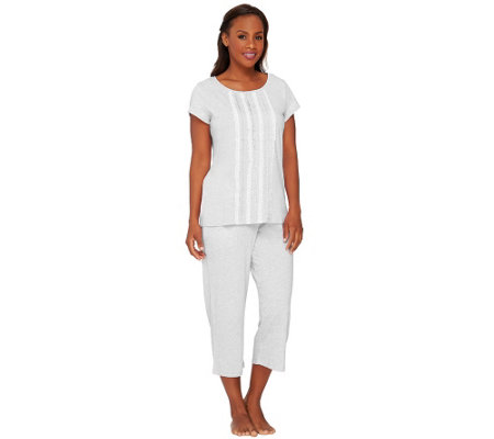 Carole Hochman Heavenly Soft Heathered Pajama Set w/ Lace Detail