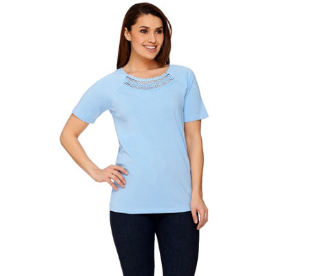 Denim & Co. Raglan Short Sleeve Scoop Neck Top with Crochet