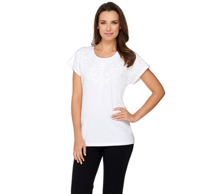 Susan Graver Weekend Cotton Modal Top with Textured Print