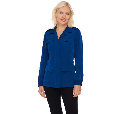 Joan Rivers Silky Safari Style Jacket with Long Sleeves