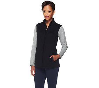 """As Is"" Denim & Co. Active Quilted Knit Zip Front Vest - A265741"