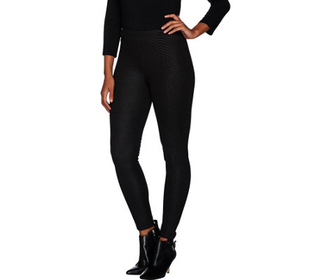 Women with Control Regular Snake Embossed Knit Leggings