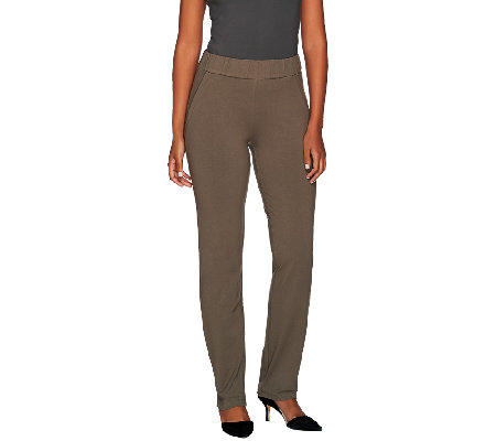 Women with Control Regular Ruched Waist Pants w/ Faux Pockets