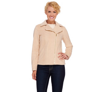Isaac Mizrahi Live! Herringbone Motorcycle Fleece Jacket - A268441