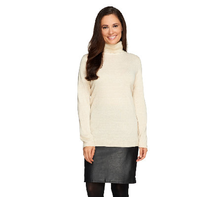 """As Is"" Susan Graver Plush Knit Metallic Turtleneck Sweater"