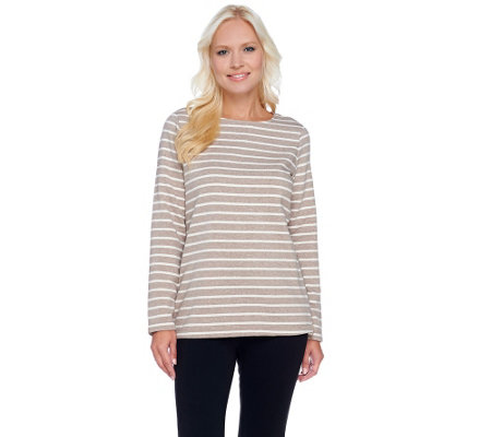 Isaac Mizrahi Live! SOHO Striped Sweatshirt w/ Zipper Detail