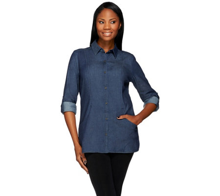 Denim & Co. Button Front Woven Tunic With Pockets