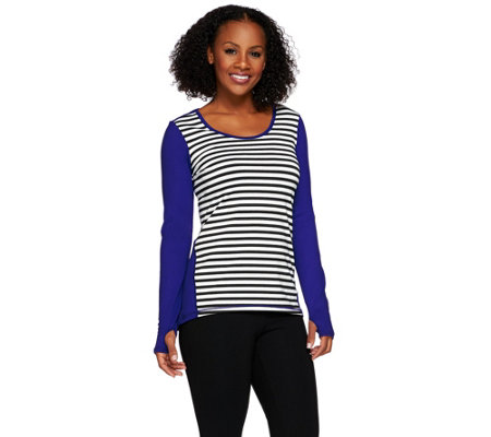 cee bee CHERYL BURKE Long Sleeve Stripe Crew Neck Top