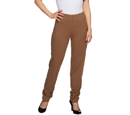 """As Is"" Women with Control Flat Front No Side Seam Regular Pants"