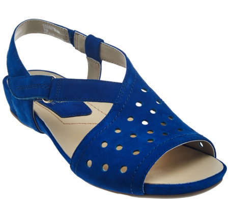 Earthies Suede Perforated Sandals w/ Adj. Strap - Razzoli