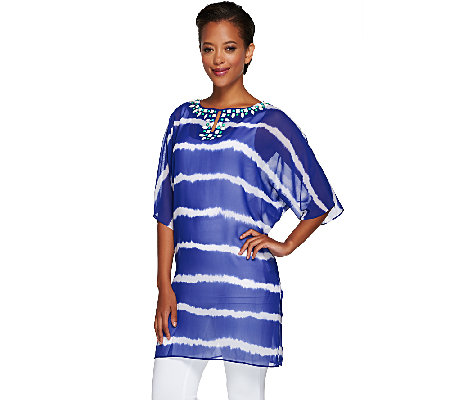 """As Is"" Susan Graver Artisan Printed Sheer Chiffon Caftan"