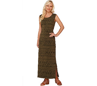"""As Is"" Denim & Co. Printed Jersey Sleeveless Maxi Dress w/ Ties - A275041"