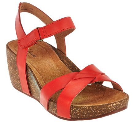 Clarks Artisan Leather Cork Wedge Sandals w/ Adj. Strap - Temira Compass
