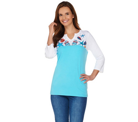 Quacker Factory Seaside Fun Color Block 3/4 Sleeve T-shirt