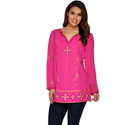 C. Wonder Split V-neck Tunic with Beading and Embroidery