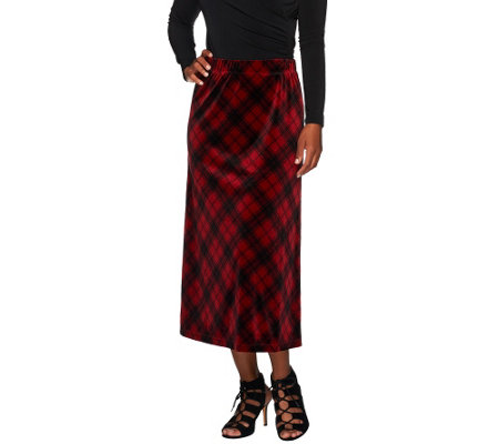 """As Is"" Susan Graver Printed Velvet Comfort Waist Pull-On Long Skirt"
