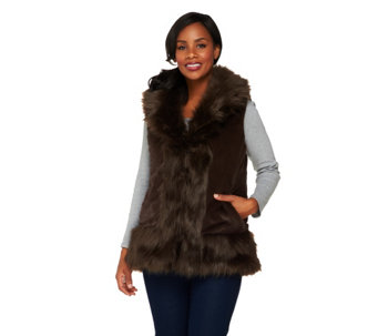 """As Is"" Joan Rivers Reversible Faux Fur and Quilted Puffer Vest - A281841"