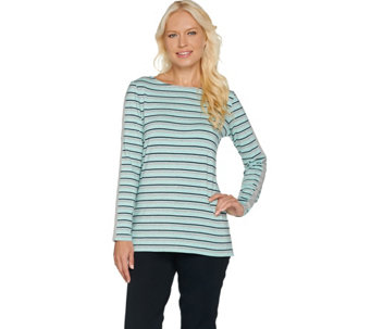 Susan Graver Weekend Striped Stretch Cotton Modal Bateau Neck Top - A282941