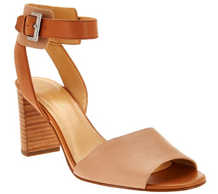 """As Is"" Marc Fisher Leather Ankle Strap Block Heel Sandals-Genette"