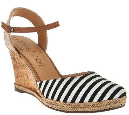 """As Is"" Sole Society Closed Toe Wedges w/ Ankle Strap - Lucy"