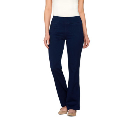 """As Is"" Denim & Co. Active Petite Denim Yoga Pants with Front Pockets"