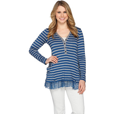 LOGO by Lori Goldstein Striped Rib Knit Henley Top w/ Lace Hem