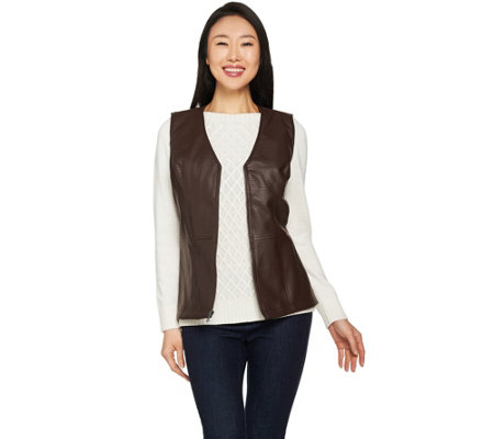 Studio by Denim & Co. Faux Leather Vest with Peplum Detail