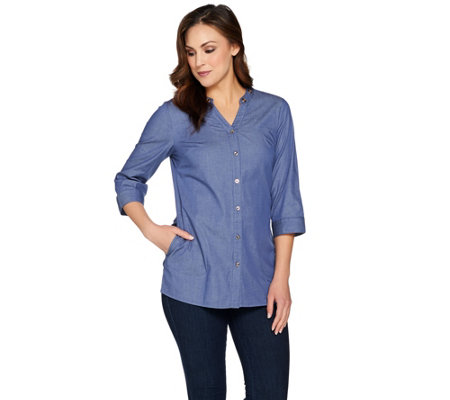 Denim & Co. Button Front Tunic Shirt with Grommet Detail