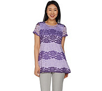 Isaac Mizrahi Live! Ombre' Lace Short Sleeve Tunic - A287441