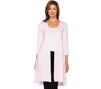 Joan Rivers 3/4 Sleeve Jersey Knit Duster with Lace Detail - A287641