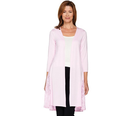 Joan Rivers 3/4 Sleeve Jersey Knit Duster with Lace Detail