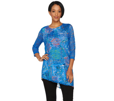 Attitudes by Renee 3/4 Sleeve Lace Overlay Tunic