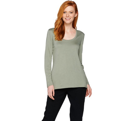 Lisa Rinna Collection Long Sleeve Back Overlap Knit Top