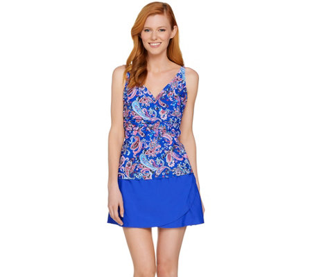 Isaac Mizrahi Live! Paisley Print Tankini Swimsuit with Skirt