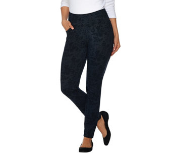"""As Is"" Denim & Co. Active Floral Printed Ankle Pants with Pockets - A289041"