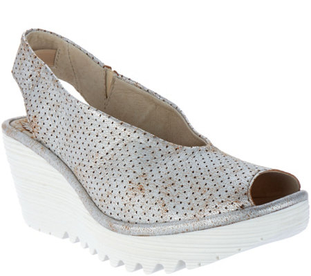 FLY London Leather Perforated Peep-toe Wedges - Yazu Perf