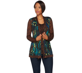 """As Is"" Susan Graver Printed Mesh Cardigan & Sleeveless Tank Set - A290541"