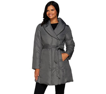 """As Is"" H by Halston Water - Repellant Shawl Collar Puffer Coat w/ Belt - A291841"