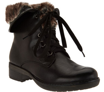 """As Is"" BareTraps Lace-up Boots with Faux Fur Lining - A293041"